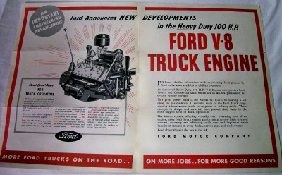 1939 Ford Truck V-8 Flathead Engine Advertising Brochure